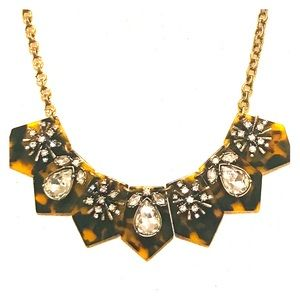 LOFT Tortoise Shell Rhinestone Statement Necklace